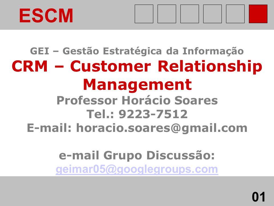 GEI - CRM Professor Horácio Soares ESCM GEI – Gestão Estratégica da Informação CRM – Customer Relationship Management Professor Horácio Soares Tel.: 9