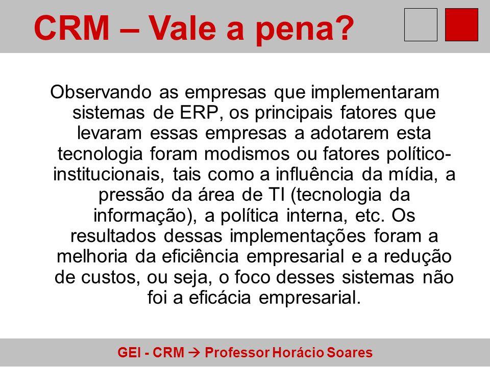 GEI - CRM Professor Horácio Soares Observando as empresas que implementaram sistemas de ERP, os principais fatores que levaram essas empresas a adotar