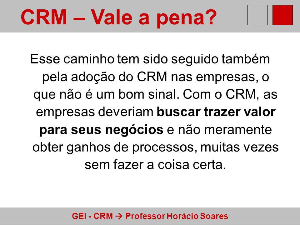GEI - CRM Professor Horácio Soares Esse caminho tem sido seguido também pela adoção do CRM nas empresas, o que não é um bom sinal. Com o CRM, as empre