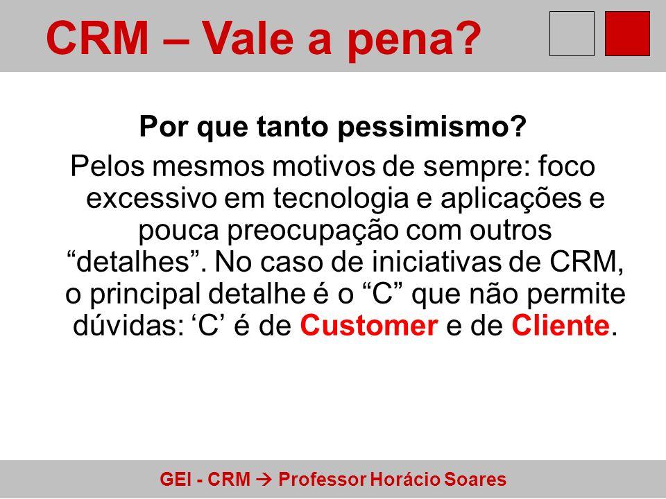 GEI - CRM Professor Horácio Soares Por que tanto pessimismo? Pelos mesmos motivos de sempre: foco excessivo em tecnologia e aplicações e pouca preocup