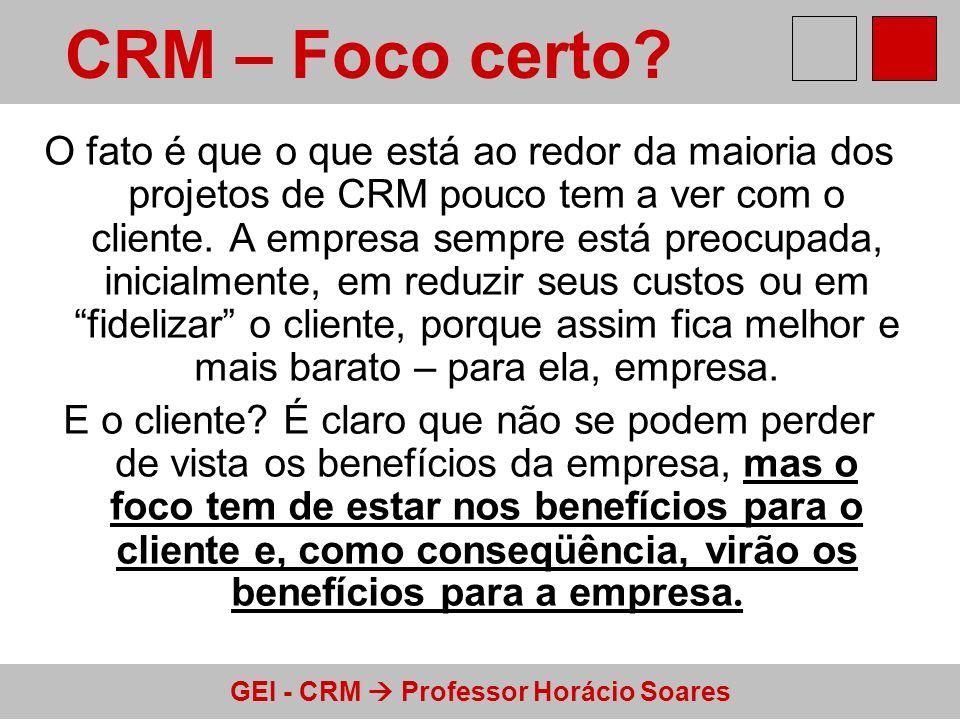 GEI - CRM Professor Horácio Soares O fato é que o que está ao redor da maioria dos projetos de CRM pouco tem a ver com o cliente. A empresa sempre est