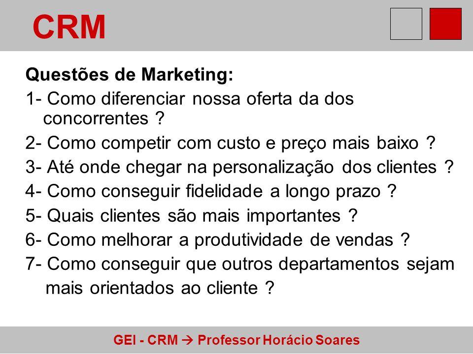 GEI - CRM Professor Horácio Soares Questões de Marketing: 1- Como diferenciar nossa oferta da dos concorrentes ? 2- Como competir com custo e preço ma