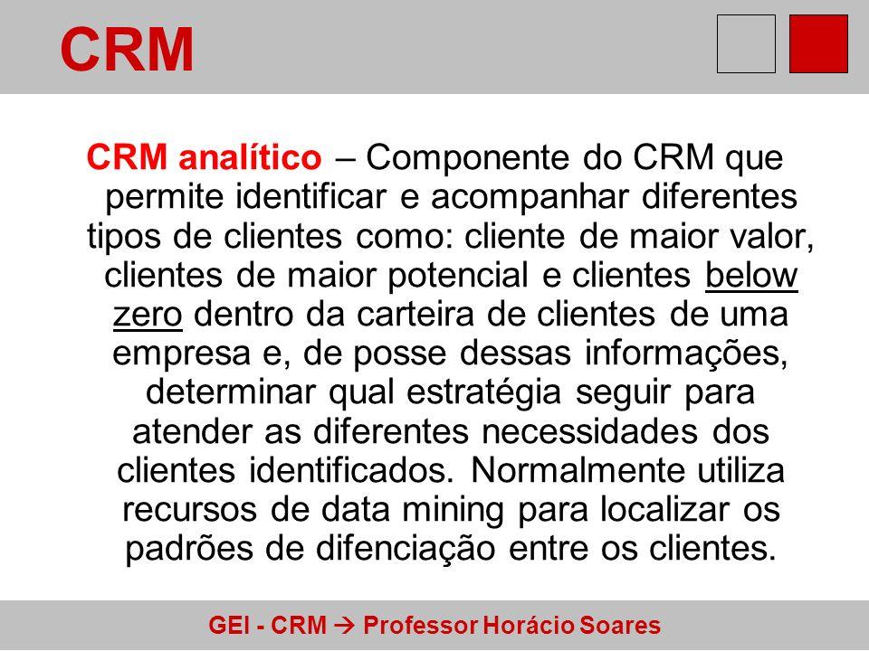 GEI - CRM Professor Horácio Soares CRM colaborativo - É a aplicação da tecnologia de informação (TI) que permite a automação e a integração entre todos os pontos de contato do cliente com a empresa.