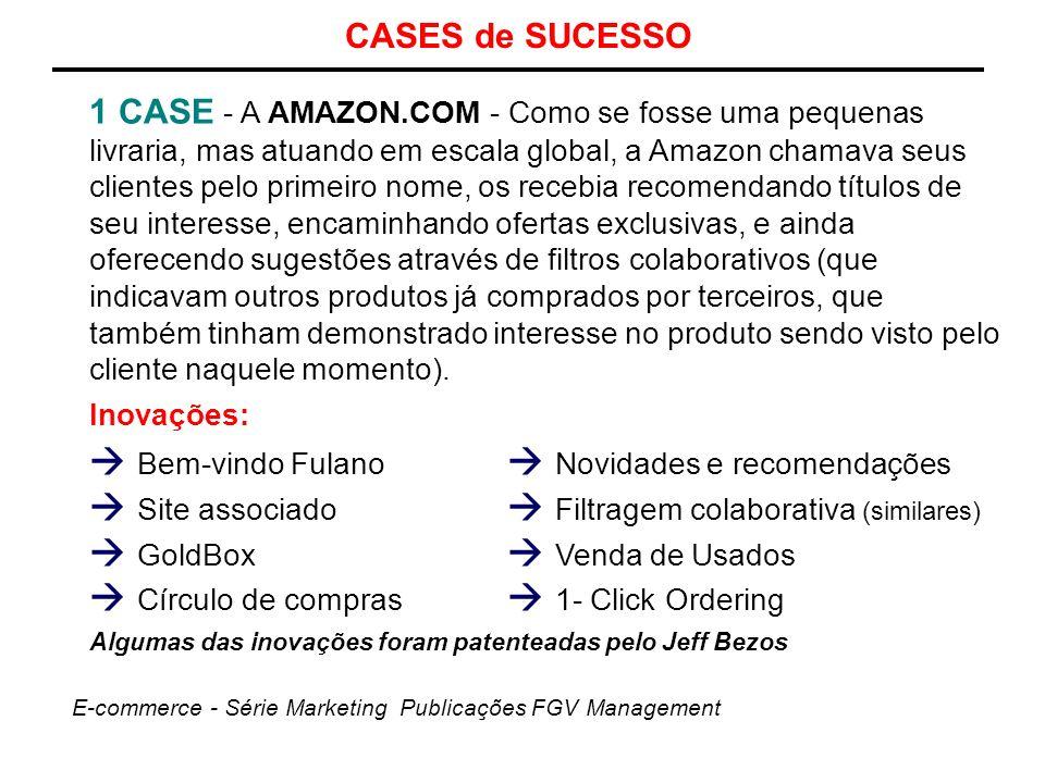 CASES de SUCESSO 1 CASE - A AMAZON.COM - Como se fosse uma pequenas livraria, mas atuando em escala global, a Amazon chamava seus clientes pelo primei