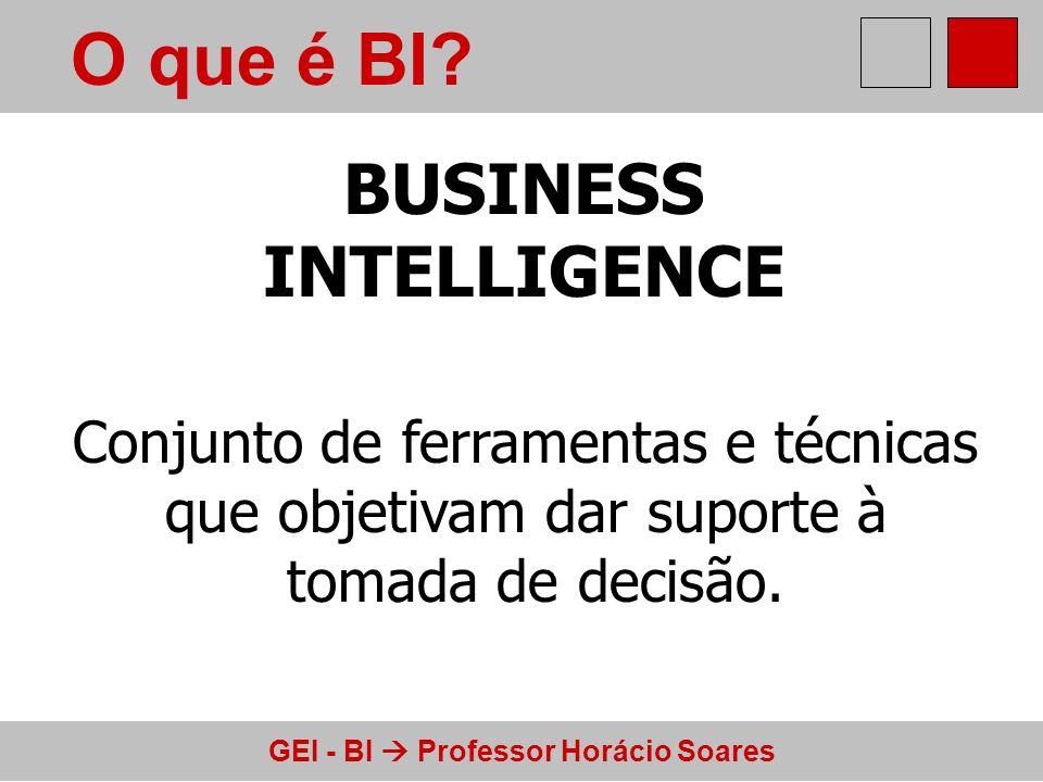 GEI - BI Professor Horácio Soares O que é BI? BUSINESS INTELLIGENCE Conjunto de ferramentas e técnicas que objetivam dar suporte à tomada de decisão.