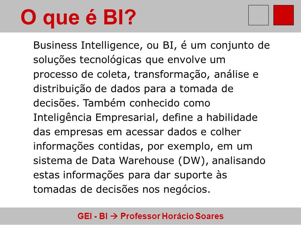 GEI - BI Professor Horácio Soares O que é BI? Business Intelligence, ou BI, é um conjunto de soluções tecnológicas que envolve um processo de coleta,