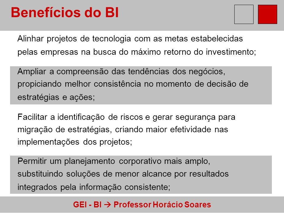 GEI - BI Professor Horácio Soares Benefícios do BI Alinhar projetos de tecnologia com as metas estabelecidas pelas empresas na busca do máximo retorno