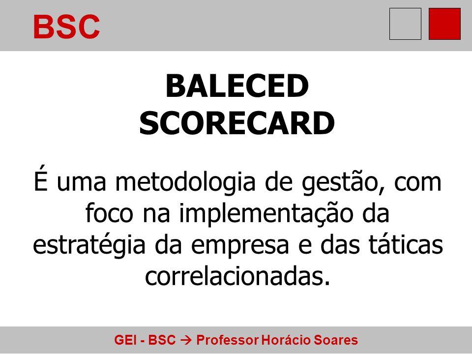 GEI - BSC Professor Horácio Soares BSC As informações para implementar o BSC vêm de vários donos de medições: o setor financeiro se encarrega dos gastos e benefícios, o RH mede habilidades, a produção avalia qualidade e rendimento