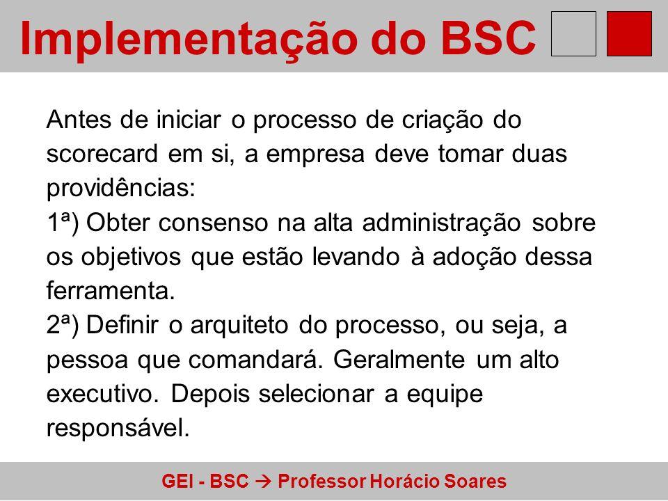 GEI - BSC Professor Horácio Soares Implementação do BSC Antes de iniciar o processo de criação do scorecard em si, a empresa deve tomar duas providênc
