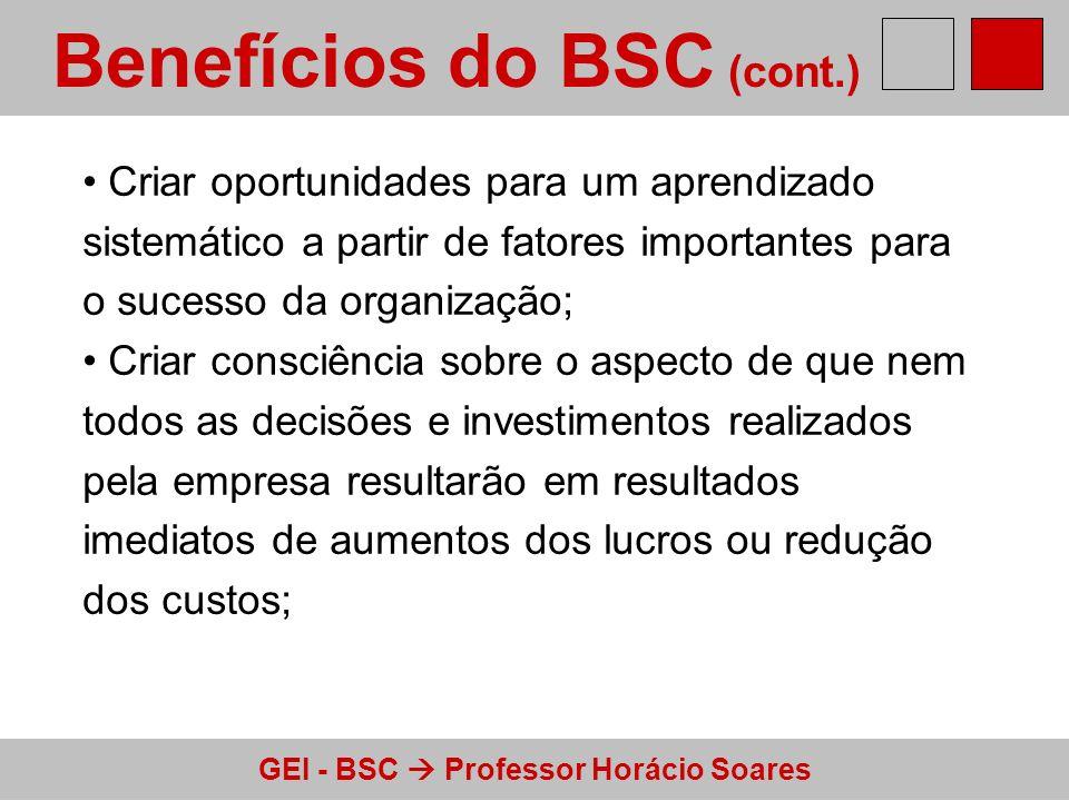 GEI - BSC Professor Horácio Soares Benefícios do BSC (cont.) Criar oportunidades para um aprendizado sistemático a partir de fatores importantes para