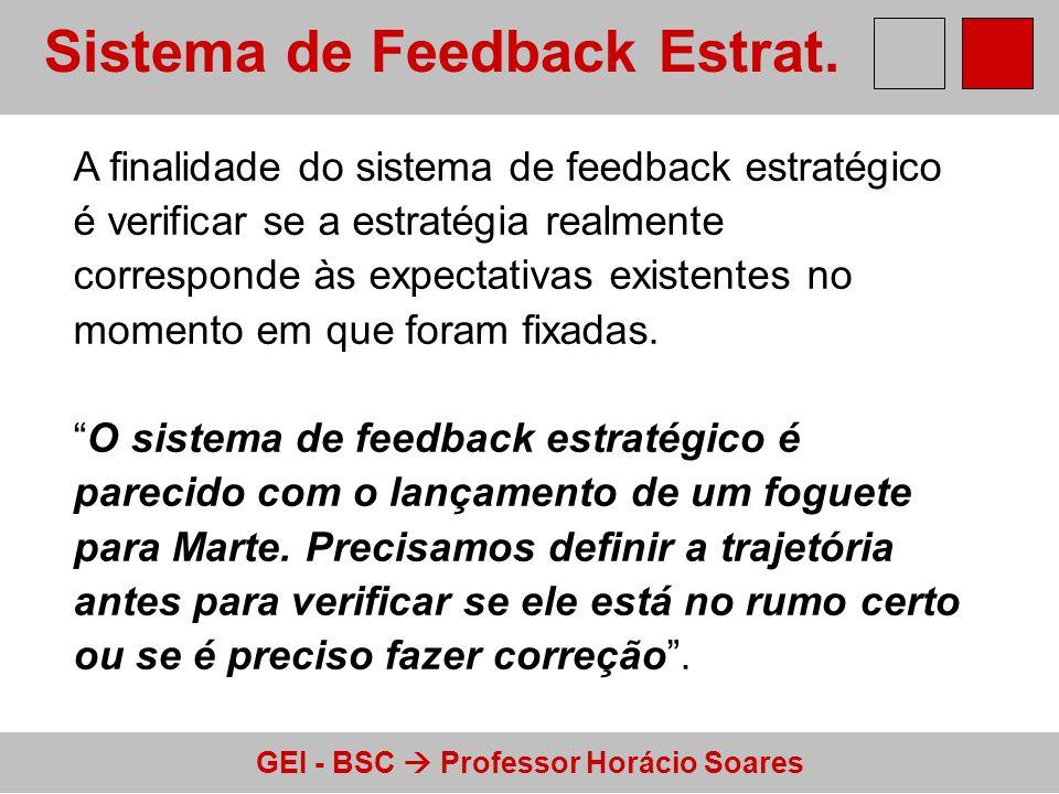GEI - BSC Professor Horácio Soares Sistema de Feedback Estrat. A finalidade do sistema de feedback estratégico é verificar se a estratégia realmente c