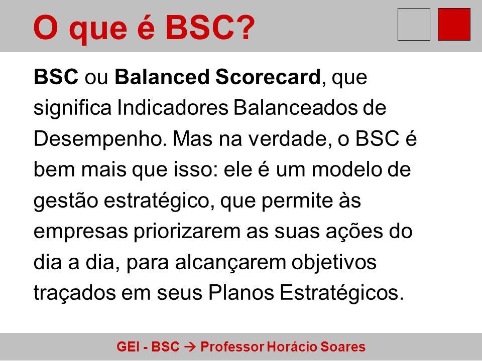 GEI - BSC Professor Horácio Soares O que é BSC? BSC ou Balanced Scorecard, que significa Indicadores Balanceados de Desempenho. Mas na verdade, o BSC