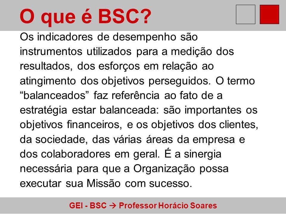 GEI - BSC Professor Horácio Soares O que é BSC? Os indicadores de desempenho são instrumentos utilizados para a medição dos resultados, dos esforços e