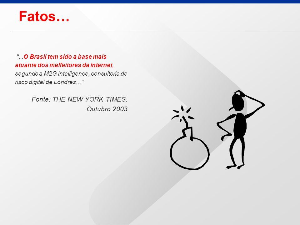Fatos… ...O Brasil tem sido a base mais atuante dos malfeitores da internet, segundo a M2G Intelligence, consultoria de risco digital de Londres… Fonte: THE NEW YORK TIMES, Outubro 2003