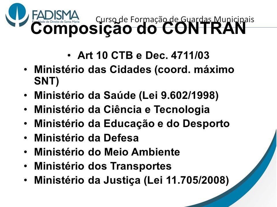Composição do CONTRAN Art 10 CTB e Dec. 4711/03 Ministério das Cidades (coord. máximo SNT) Ministério da Saúde (Lei 9.602/1998) Ministério da Ciência