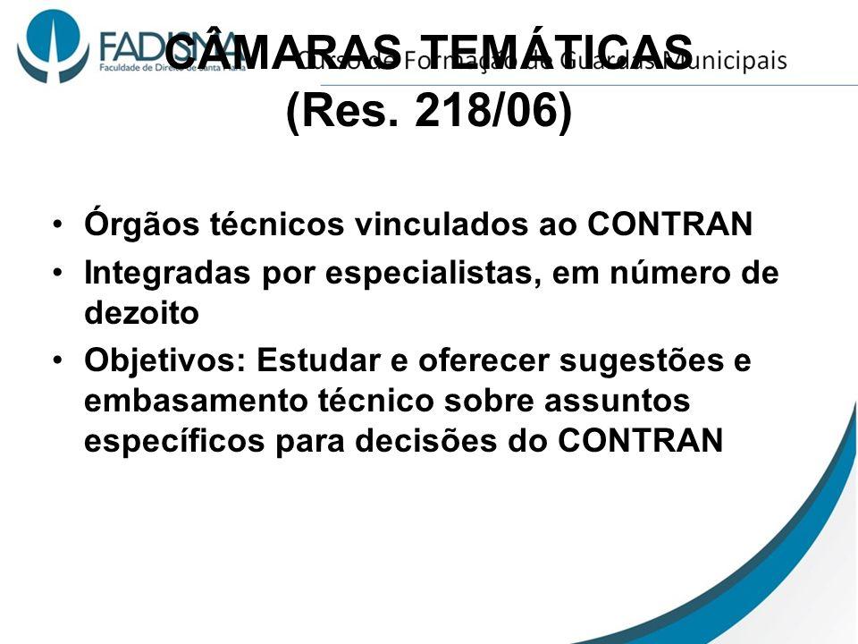 CÂMARAS TEMÁTICAS (Res. 218/06) Órgãos técnicos vinculados ao CONTRAN Integradas por especialistas, em número de dezoito Objetivos: Estudar e oferecer