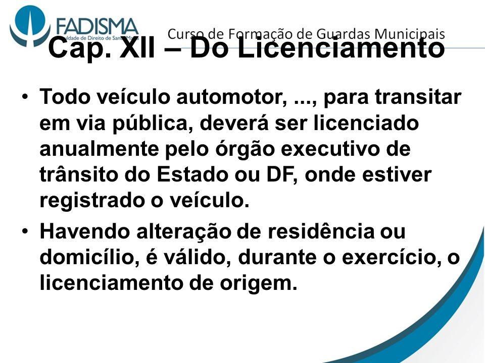 Cap. XII – Do Licenciamento Todo veículo automotor,..., para transitar em via pública, deverá ser licenciado anualmente pelo órgão executivo de trânsi