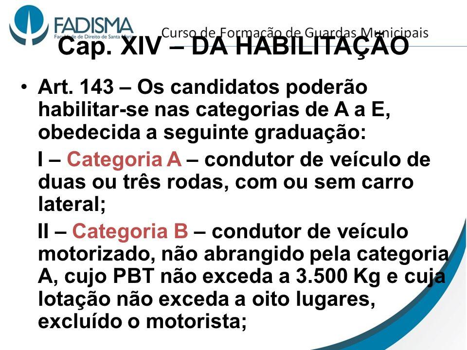 Cap. XIV – DA HABILITAÇÃO Art. 143 – Os candidatos poderão habilitar-se nas categorias de A a E, obedecida a seguinte graduação: I – Categoria A – con