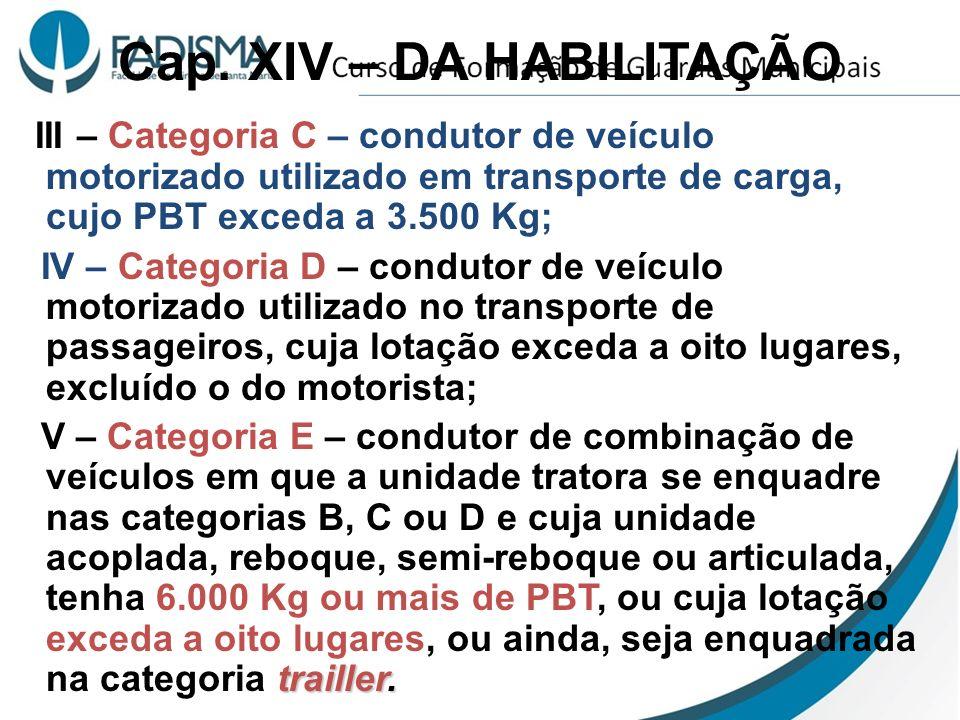 Cap. XIV – DA HABILITAÇÃO III – Categoria C – condutor de veículo motorizado utilizado em transporte de carga, cujo PBT exceda a 3.500 Kg; IV – Catego