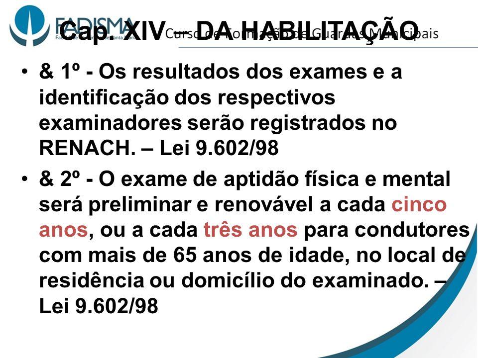Cap. XIV – DA HABILITAÇÃO & 1º - Os resultados dos exames e a identificação dos respectivos examinadores serão registrados no RENACH. – Lei 9.602/98 &