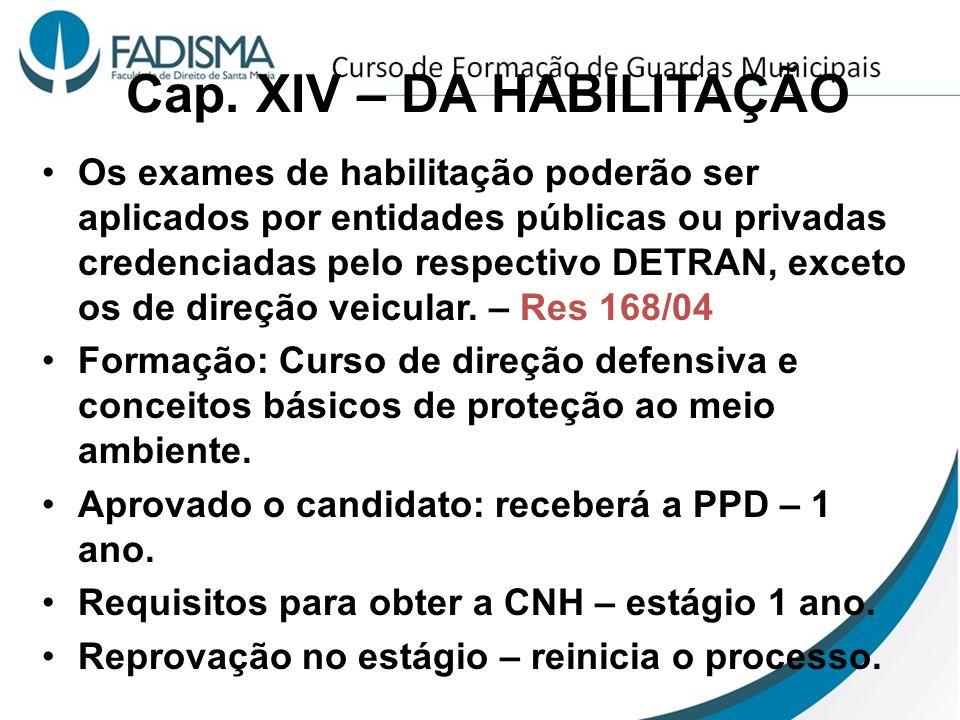 Cap. XIV – DA HABILITAÇÃO Os exames de habilitação poderão ser aplicados por entidades públicas ou privadas credenciadas pelo respectivo DETRAN, excet