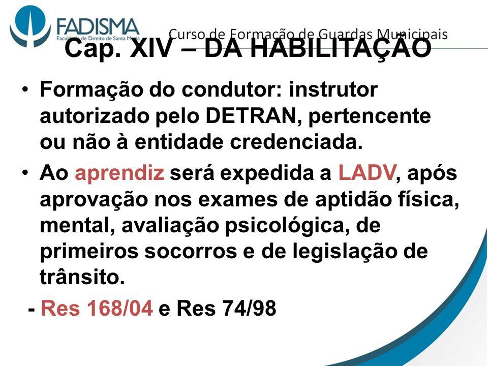 Cap. XIV – DA HABILITAÇÃO Formação do condutor: instrutor autorizado pelo DETRAN, pertencente ou não à entidade credenciada. Ao aprendiz será expedida