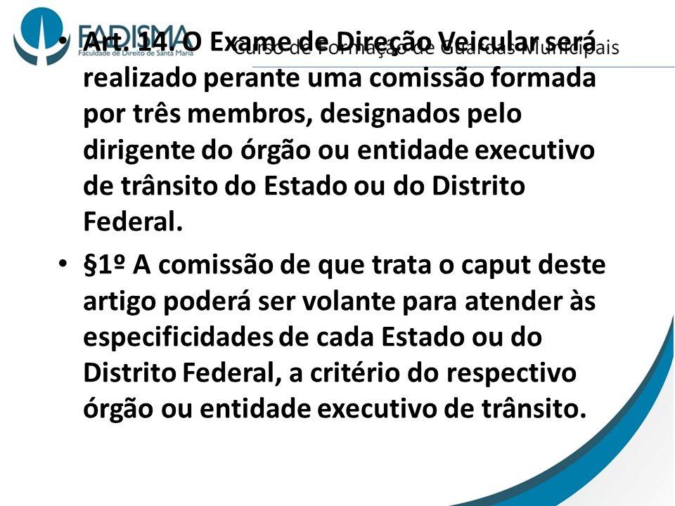Art. 14. O Exame de Direção Veicular será realizado perante uma comissão formada por três membros, designados pelo dirigente do órgão ou entidade exec