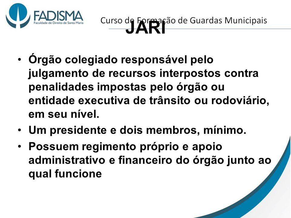 JARI Órgão colegiado responsável pelo julgamento de recursos interpostos contra penalidades impostas pelo órgão ou entidade executiva de trânsito ou r
