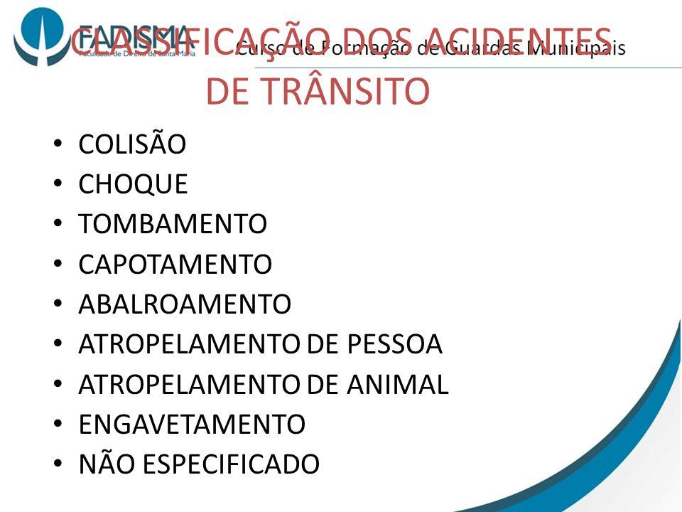 CLASSIFICAÇÃO DOS ACIDENTES DE TRÂNSITO COLISÃO CHOQUE TOMBAMENTO CAPOTAMENTO ABALROAMENTO ATROPELAMENTO DE PESSOA ATROPELAMENTO DE ANIMAL ENGAVETAMEN