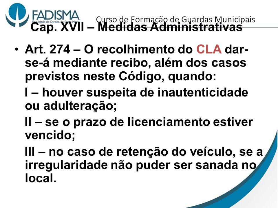 Cap. XVII – Medidas Administrativas Art. 274 – O recolhimento do CLA dar- se-á mediante recibo, além dos casos previstos neste Código, quando: I – hou