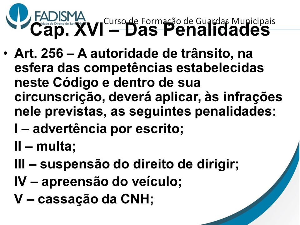 Cap. XVI – Das Penalidades Art. 256 – A autoridade de trânsito, na esfera das competências estabelecidas neste Código e dentro de sua circunscrição, d