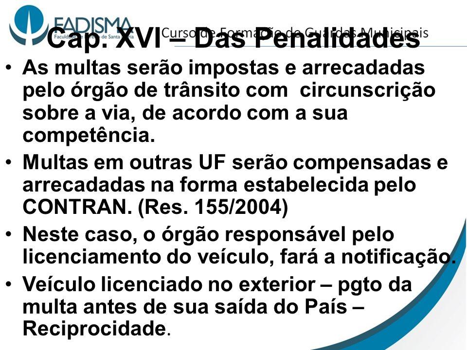 Cap. XVI – Das Penalidades As multas serão impostas e arrecadadas pelo órgão de trânsito com circunscrição sobre a via, de acordo com a sua competênci