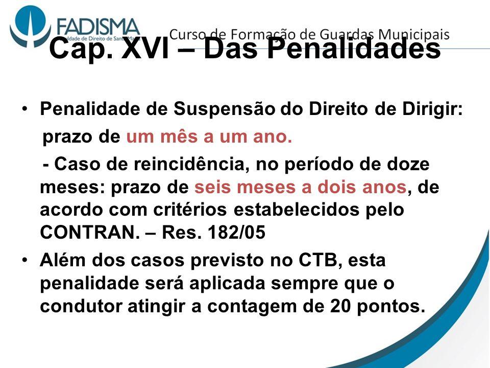 Cap. XVI – Das Penalidades Penalidade de Suspensão do Direito de Dirigir: prazo de um mês a um ano. - Caso de reincidência, no período de doze meses: