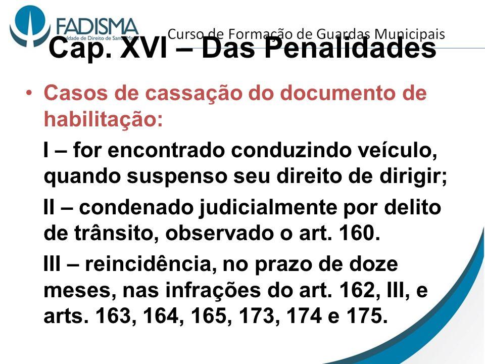 Cap. XVI – Das Penalidades Casos de cassação do documento de habilitação: I – for encontrado conduzindo veículo, quando suspenso seu direito de dirigi