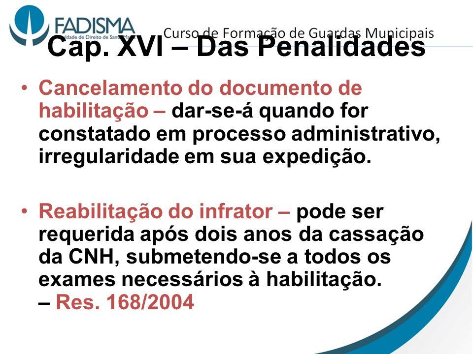 Cap. XVI – Das Penalidades Cancelamento do documento de habilitação – dar-se-á quando for constatado em processo administrativo, irregularidade em sua