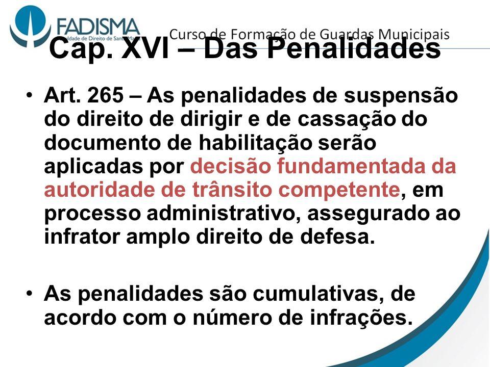 Cap. XVI – Das Penalidades Art. 265 – As penalidades de suspensão do direito de dirigir e de cassação do documento de habilitação serão aplicadas por