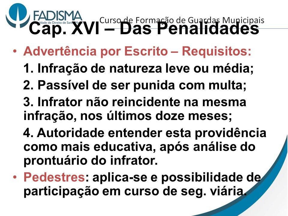 Cap. XVI – Das Penalidades Advertência por Escrito – Requisitos: 1. Infração de natureza leve ou média; 2. Passível de ser punida com multa; 3. Infrat