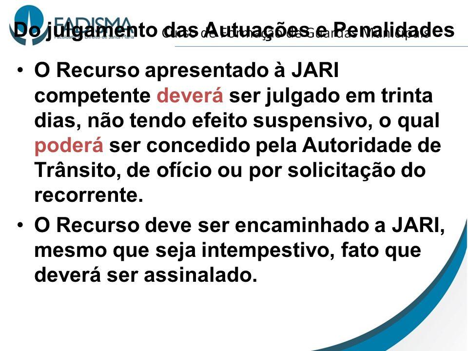 Do julgamento das Autuações e Penalidades O Recurso apresentado à JARI competente deverá ser julgado em trinta dias, não tendo efeito suspensivo, o qu