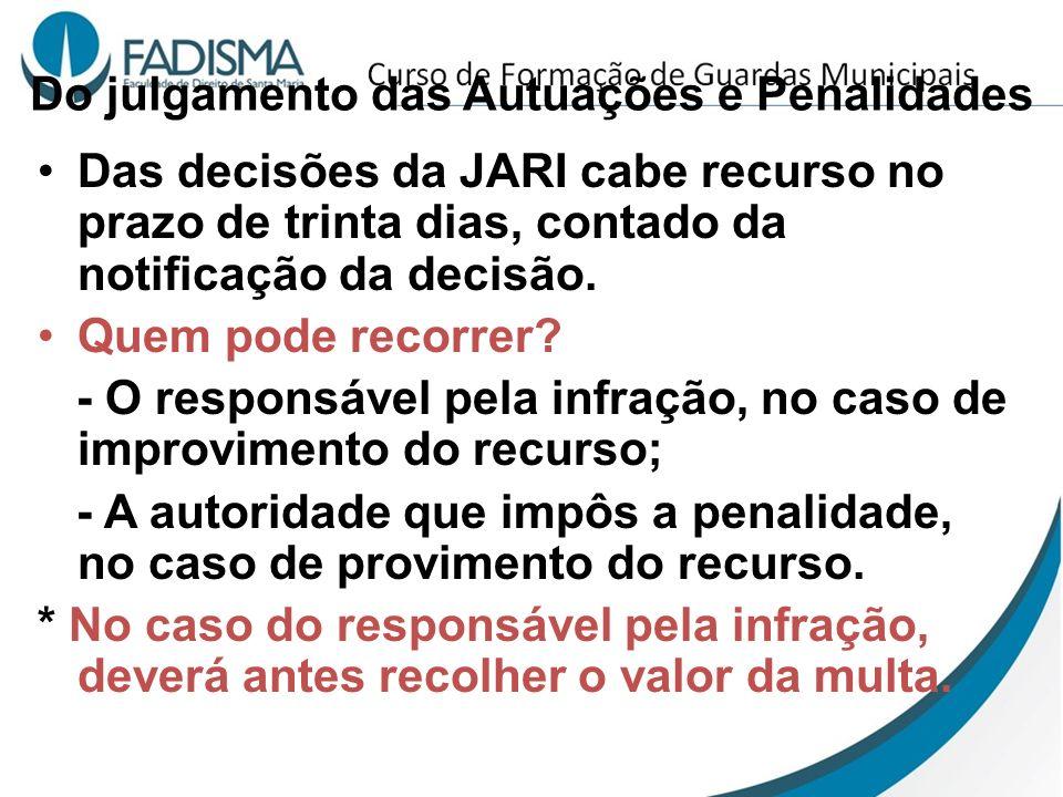 Do julgamento das Autuações e Penalidades Das decisões da JARI cabe recurso no prazo de trinta dias, contado da notificação da decisão. Quem pode reco