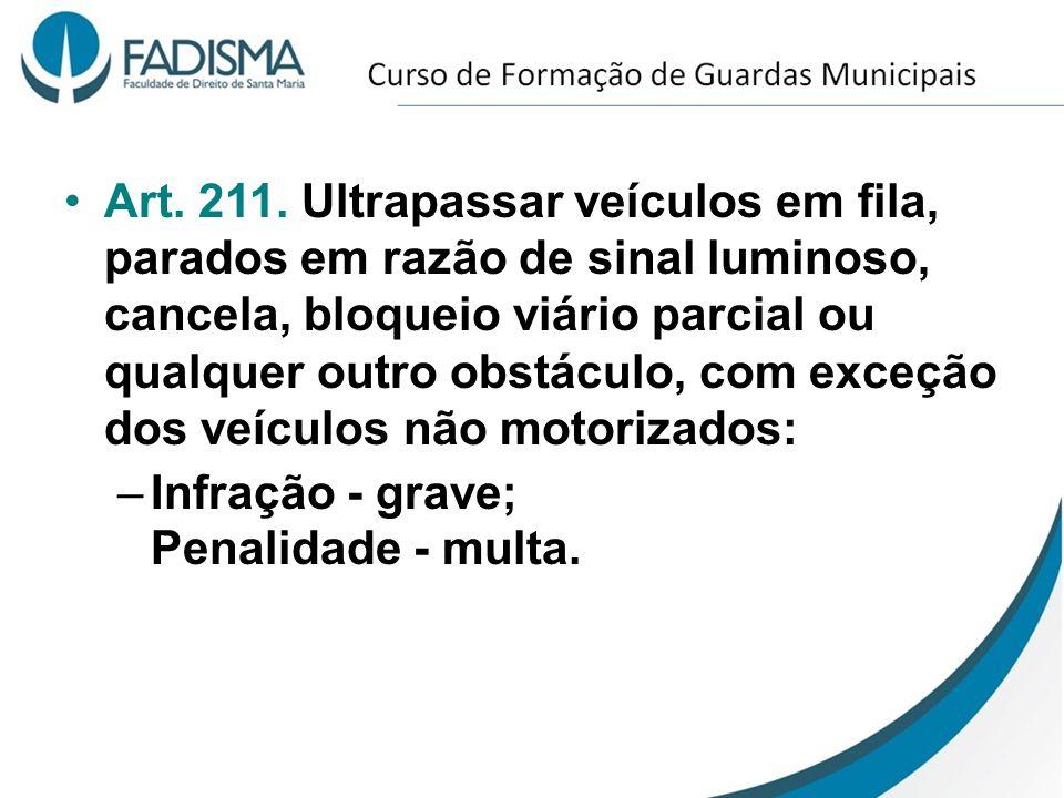 Art. 211. Ultrapassar veículos em fila, parados em razão de sinal luminoso, cancela, bloqueio viário parcial ou qualquer outro obstáculo, com exceção