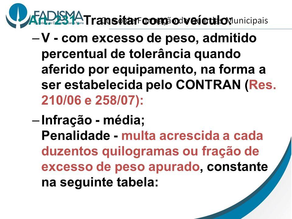 Art. 231. Transitar com o veículo: –V - com excesso de peso, admitido percentual de tolerância quando aferido por equipamento, na forma a ser estabele