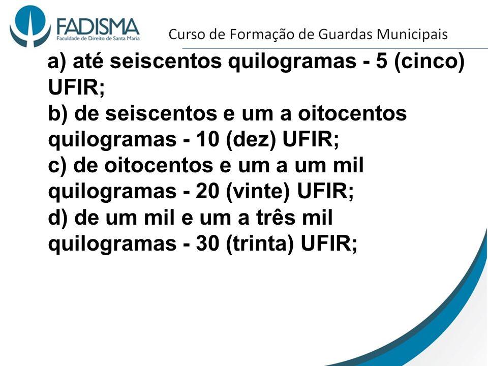 a) até seiscentos quilogramas - 5 (cinco) UFIR; b) de seiscentos e um a oitocentos quilogramas - 10 (dez) UFIR; c) de oitocentos e um a um mil quilogr