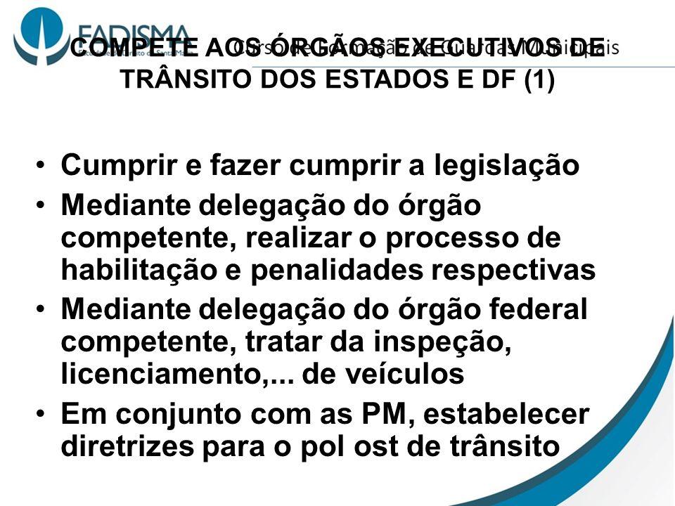 COMPETE AOS ÓRGÃOS EXECUTIVOS DE TRÂNSITO DOS ESTADOS E DF (1) Cumprir e fazer cumprir a legislação Mediante delegação do órgão competente, realizar o