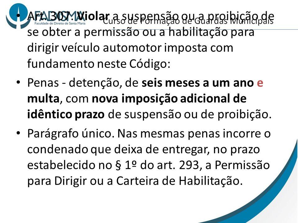 Art. 307. Violar a suspensão ou a proibição de se obter a permissão ou a habilitação para dirigir veículo automotor imposta com fundamento neste Códig