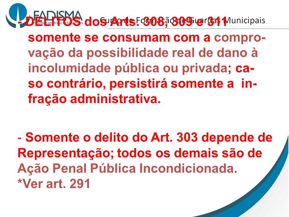 - DELITOS dos Arts. 308, 309 e 311 somente se consumam com a compro- vação da possibilidade real de dano à incolumidade pública ou privada; ca- so con