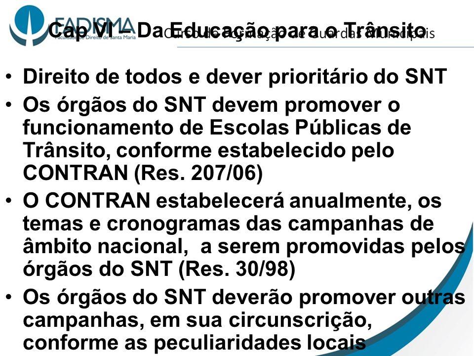 Cap VI – Da Educação para o Trânsito Direito de todos e dever prioritário do SNT Os órgãos do SNT devem promover o funcionamento de Escolas Públicas d