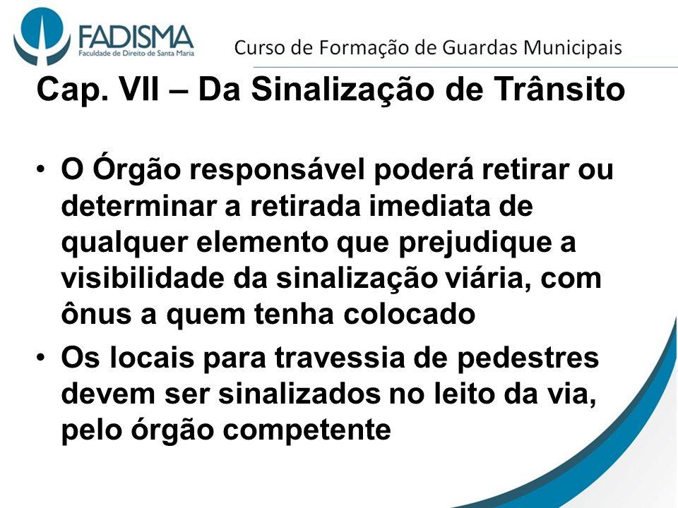 Cap. VII – Da Sinalização de Trânsito O Órgão responsável poderá retirar ou determinar a retirada imediata de qualquer elemento que prejudique a visib