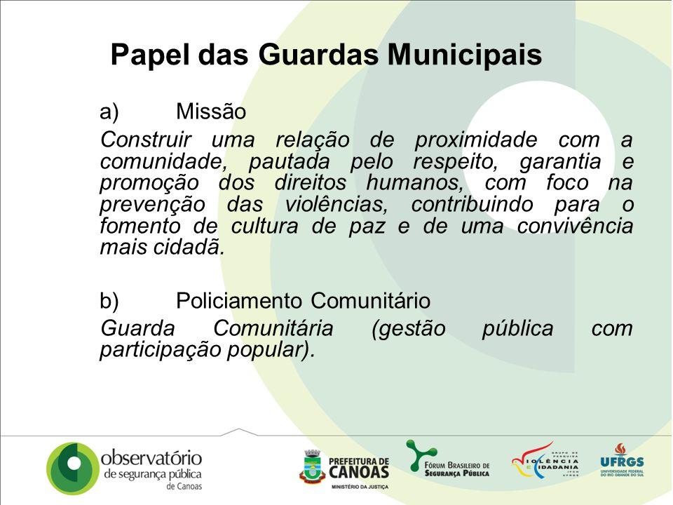 Papel das Guardas Municipais a)Missão Construir uma relação de proximidade com a comunidade, pautada pelo respeito, garantia e promoção dos direitos h