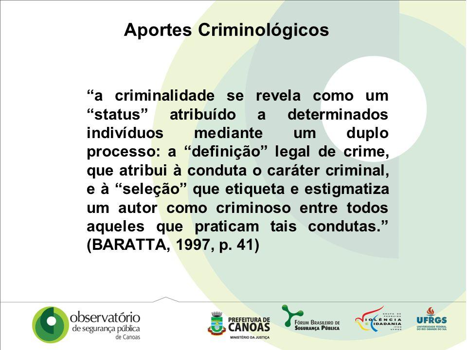 Aportes Criminológicos a criminalidade se revela como um status atribuído a determinados indivíduos mediante um duplo processo: a definição legal de c