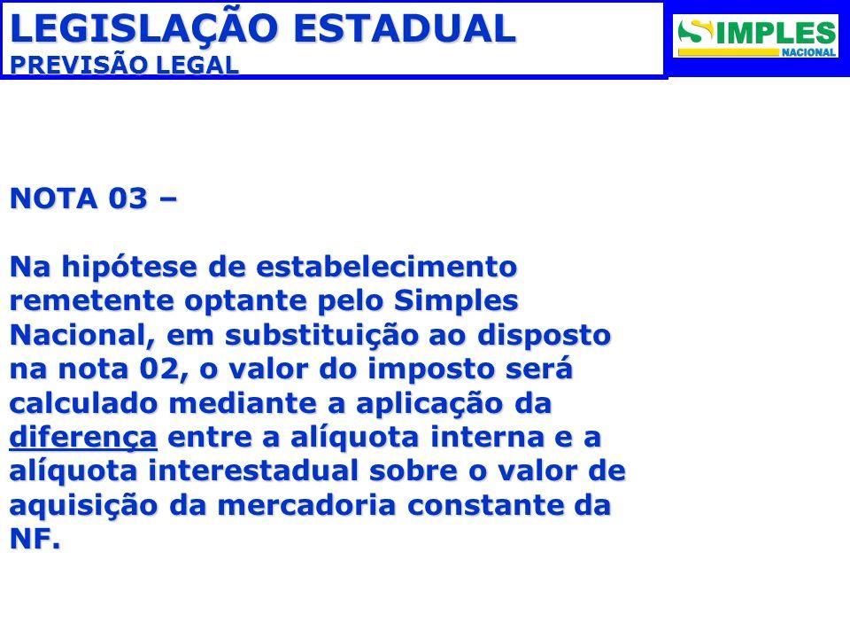 LEGISLAÇÃO ESTADUAL PREVISÃO LEGAL NOTA 03 – Na hipótese de estabelecimento remetente optante pelo Simples Nacional, em substituição ao disposto na no